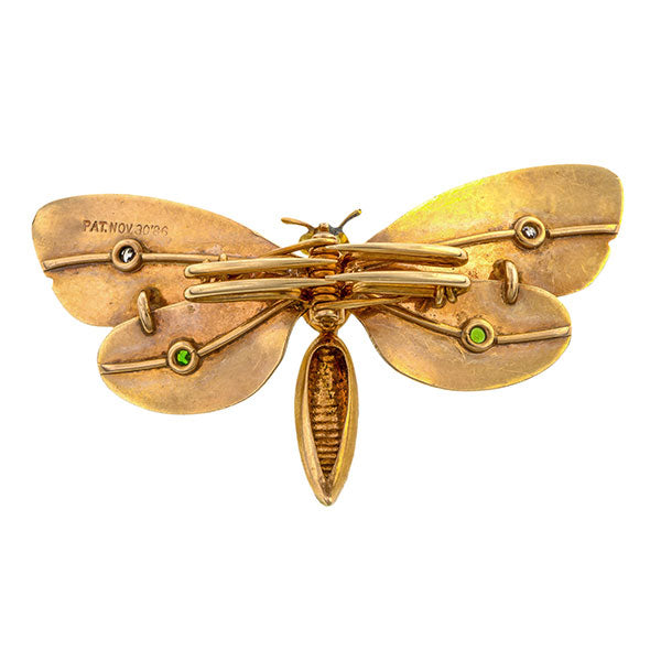 Victorian brooches: a Yellow Gold Butterfly With Old Euopean Cut Diamonds And Demantoid Garnets Scarf PIn sold by Doyle & Doyle vintage and antique jewelry boutique.