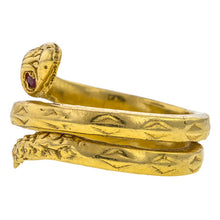 Vintage Ruby Snake Ring, sold by Doyle & Doyle vintage and antique jewelry boutique.