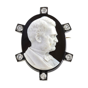 6365a43ddb7 Victorian brooches: a Silver-Topped 14k Rose Gold Black Onyx Cameo With Old  European