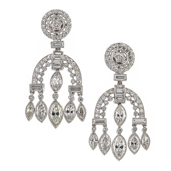 Art Deco earrings: a Platinum Drop Earrings with Single, Baguette and Marquise Cut Diamonds sold by Doyle & Doyle vintage and antique jewelry boutique