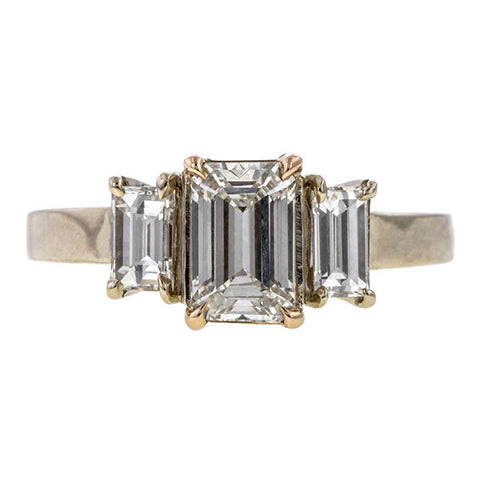 Vintage Three Stone Engagement Ring, Emerald cut 0.96ct., sold by Doyle & Doyle an antique and vintage jewelry store.