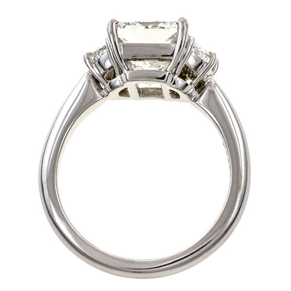 Vintage Three Stone Engagement Ring, Radiant cut 3.06ct.
