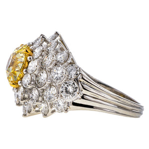 Vintage Yellow Diamond Cluster Ring, Old European cut 3.03ct., sold by Doyle & Doyle an antique and vintage jewelry store.