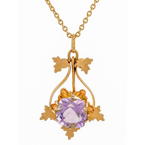 Victorian Amethyst Lavalier Pendant Necklace sold by Doyle & Doyle a vintage and antique jewelry boutique