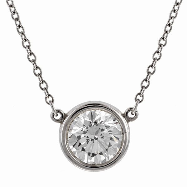 Estate Tiffany & Co. Bezel Set Diamond Necklace, RBC 1.01ct.