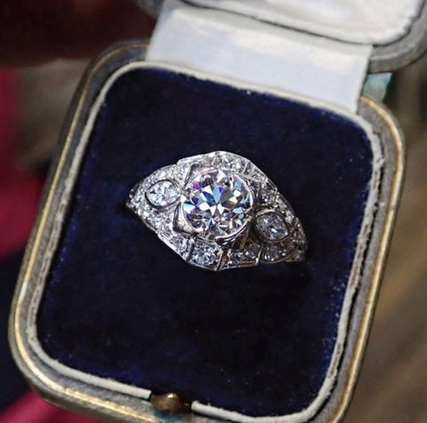108422R_Art Deco Engagement Ring Old European cut 1.30ct