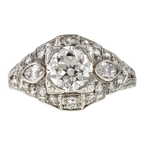 Art Deco Engagement Ring, Old Euro 1.30ct.