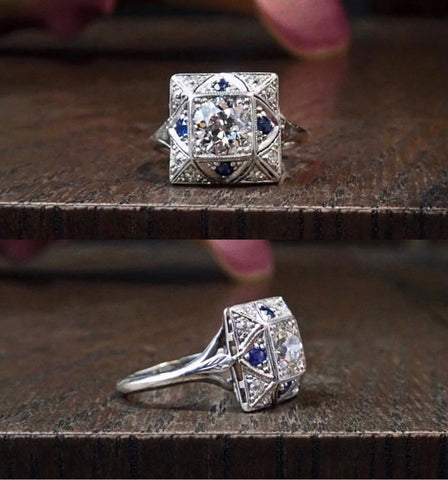 Art Deco Engagement Ring, Old European cut 0.90ct.