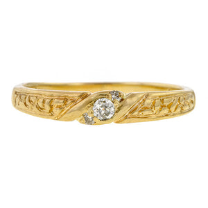 Vintage Old European Diamond Band, set with Old European cut and Round Brilliant cut diamonds in yellow gold sold by Doyle & Doyle vintage and antique jewelry boutique.