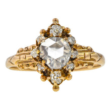 Victorian ring: a 12k Yellow Gold Engagement Ring With Rose Cut And Old Mine Cut Diamonds sold by Doyle & Doyle vintage and antique jewelry boutique.