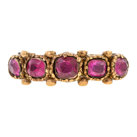 Antique ring: a Yellow Gold With Five Rubies Engagement Ring sold by Doyle & Doyle vintage and antique jewelry boutique.