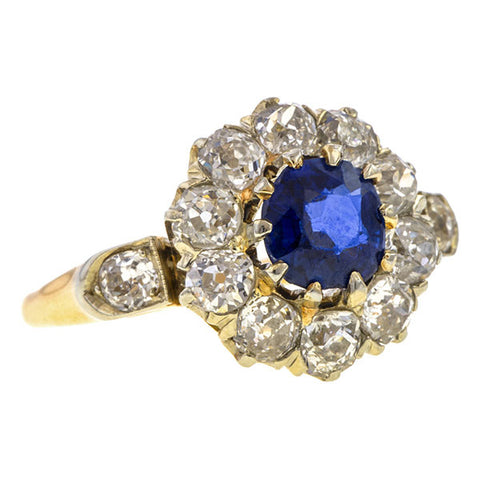 Antique ring: a Yellow Gold Cushion Cut Sapphire With Old European Cut And Old Mine Cut Diamond Ring sold by Doyle & Doyle vintage and antique jewelry boutique.