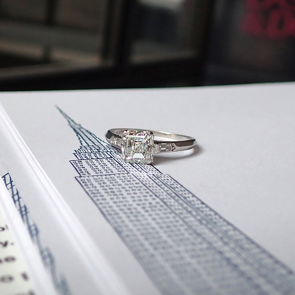 Vintage Engagement Ring, Asscher Cut Diamond 1.51ct.