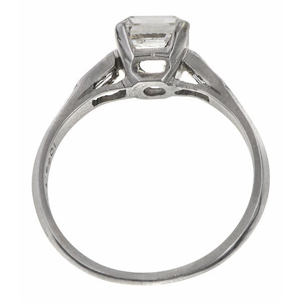 Vintage ring: a Platinum Asscher Cut Diamond Engagement Ring sold by Doyle & Doyle vintage and antique jewelry boutique.