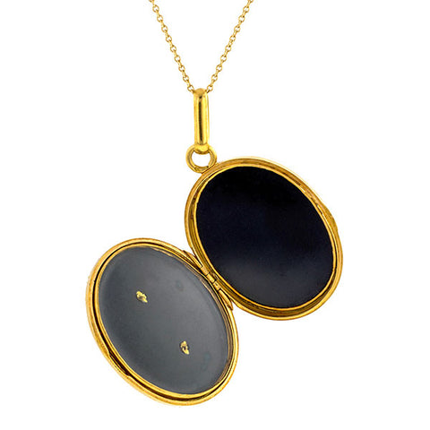 Antique necklace: a Yellow Gold Onyx And Pearl Pendant sold by Doyle & Doyle vintage and antique jewelry boutique.