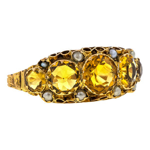 Edwardian ring: a 9k Yellow Gold With Five Citrine Stones And Pearls Ring sold by Doyle & Doyle vintage and antique jewelry boutique.