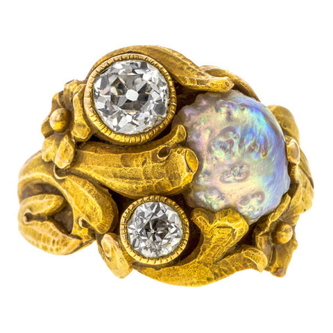 Art Nouveau ring: a Yellow Gold With Pearl And Old European Cut Diamond Ring sold by Doyle & Doyle vintage and antique jewelry boutique.