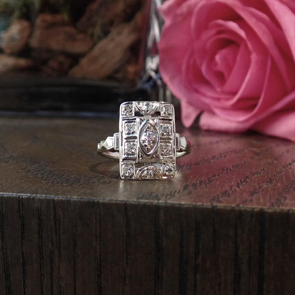 Vintage Diamond Dinner Ring, White Gold