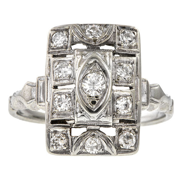 Vintage ring: a White Gold Old European Cut Diamond Dinner Engagement Ring sold by Doyle & Doyle vintage and antique jewelry boutique.
