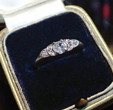 Art Deco ring a Platinum Engagement Ring With Oval and Round Brilliant Cut Diamonds sold by Doyle & Doyle vintage and antique jewelry boutique.