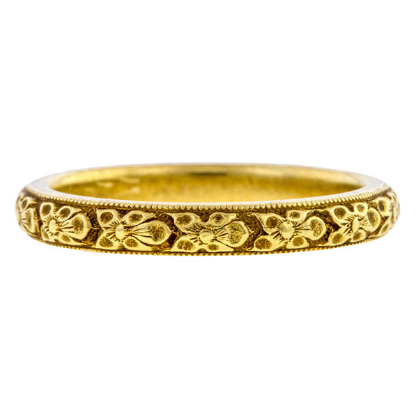 Art Deco ring: a Yellow Gold With Pattern Wedding Band sold by Doyle & Doyle vintage and antique jewelry boutique.