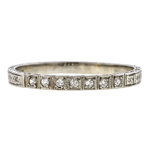 Vintage ring: a White Gold Single Cut Diamond Wedding Band sold by Doyle & Doyle vintage and antique jewelry boutique.