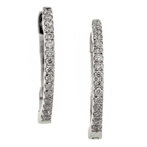 Contemporary earrings: a White Gold Round Brilliant Cut Hoop Earrings sold by Doyle & Doyle vintage and antique jewelry boutique.