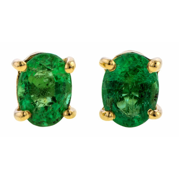 Oval Emerald Stud Earrings, 0.39ct. sold by Doyle & Doyle vintage and antique jewelry boutique.
