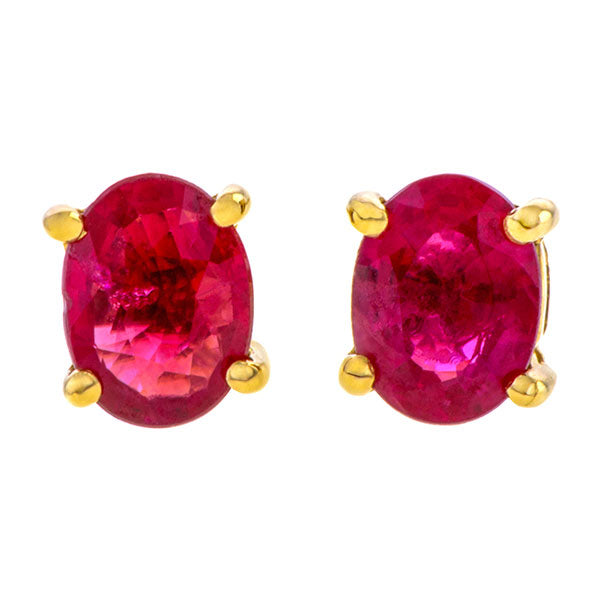 Oval Ruby Stud Earrings, 0.37ct. sold by Doyle & Doyle vintage and antique jewelry boutique.