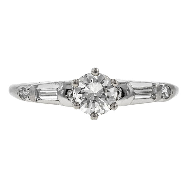 Vintage ring: a White Gold Round Brilliant, Baguette and Single Cut Diamond Engagement Ring sold by Doyle & Doyle vintage and antique jewelry boutique.