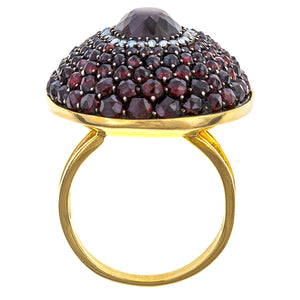 Antique ring: A Yellow Gold Bohemian Garnet And Pearl Ring sold by Doyle & Doyle vintage and antique jewelry boutique.