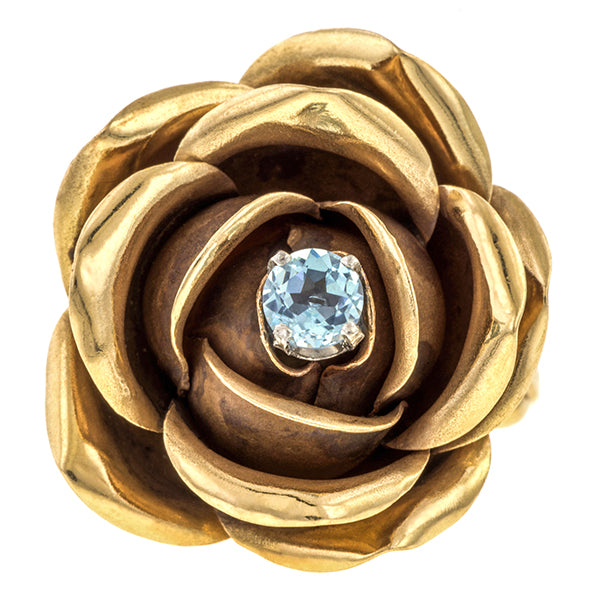 Vintage ring: a Yellow Gold Rose With Aquamarine At the Center Ring sold by Doyle & Doyle vintage and antique jewelry boutique.