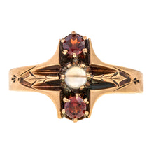 Victorian ring: a 10k Yellow Gold With Moonstone and Garnet Ring sold by Doyle & Doyle vintage and antique jewelry boutique.