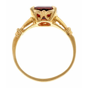 Vintage ring: a Yellow Gold Rectangular Garnet Ring sold by Doyle & Doyle vintage and antique jewelry boutique.