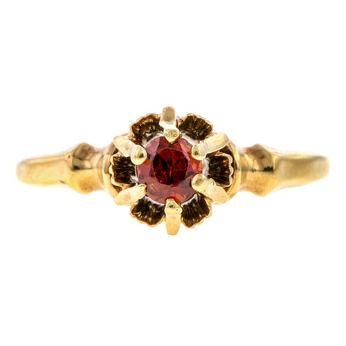 Antique ring: a Yellow Gold With Round Garnet sold by Doyle & Doyle vintage and antique jewelry boutique.