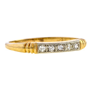 Vintage ring: a Yellow And White Gold Single Cut Diamond Wedding Band sold by Doyle & Doyle vintage and antique jewelry boutique.
