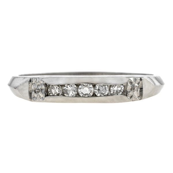 Vintage ring: a Platinum Channel Set Single Cut Diamond Wedding Band sold by Doyle & Doyle vintage and antique jewelry boutique.