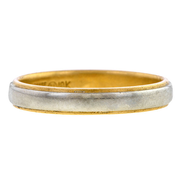 Vintage ring: a Yellow And White Gold Wedding Band sold by Doyle & Doyle vintage and antique jewelry boutique.