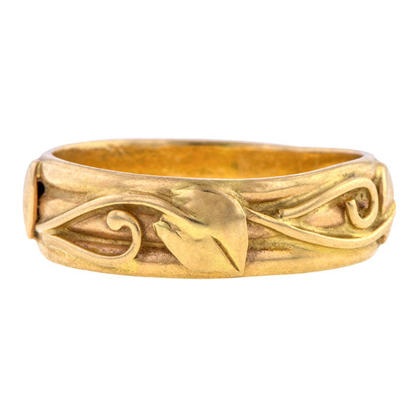 Vintage ring: a Yellow Gold With Leaf Pattern Wedding Band sold by Doyle & Doyle vintage and jewelry boutique.