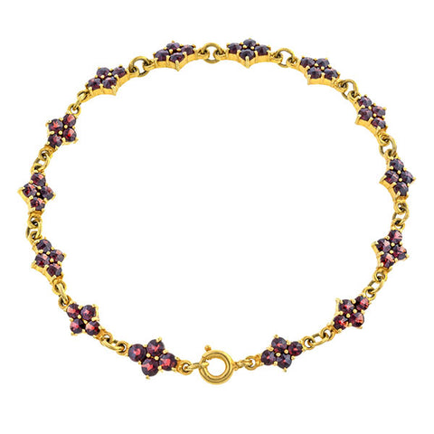 Vintage bracelet: a Yellow Gold With Rose Cut Garnets Bracelet sold by Doyle & Doyle vintage and antique jewelry boutique.