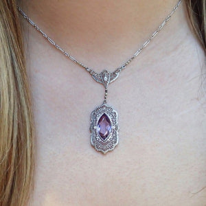 Antique Filigree Amethyst Necklace from Doyle & Doyle