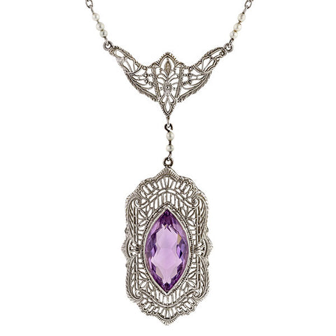 Antique necklace: a White Gold Filigree Marquise Cut Amethyst Pendant sold by Doyle & Doyle vintage and antique jewelry boutique.