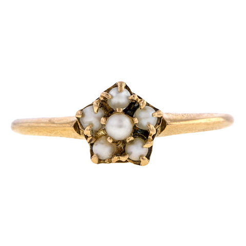 Vintage ring: a Yellow Gold Cluster Pearl Ring sold by Doyle & Doyle vintage and antique jewelry boutique.