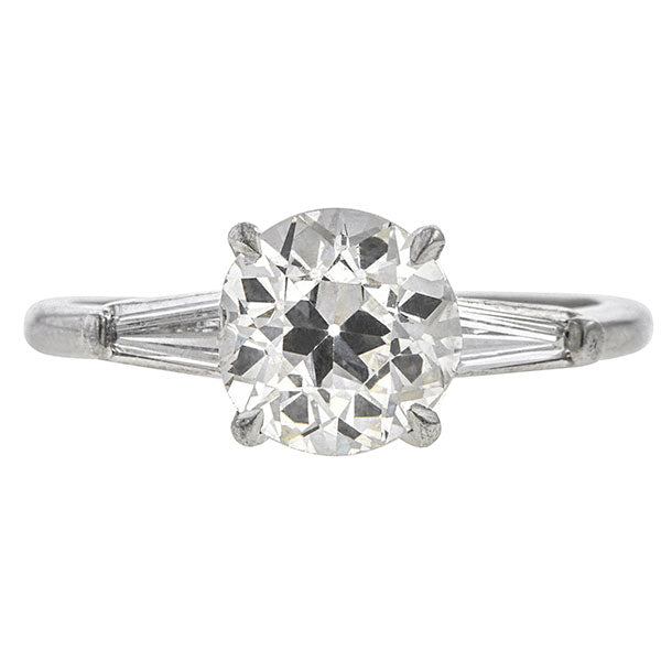Vintage ring: a Platinum Old European And Baguette Cut Diamond Engagement Ring sold by Doyle & Doyle vintage and antique jewelry boutique.