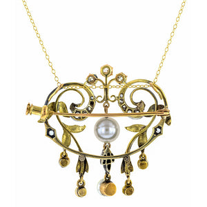 Belle Epoch Necklace: a Yellow Gold And Silver With Pearl Necklace/Pin sold by Doyle & Doyle vintage and antique boutique.