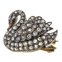 Antique brooches: a Silver Topped Yellow Gold Swan With Rose Cut Diamonds Pin sold by Doyle & Doyle vintage and antique jewelry boutique.