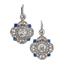 Art Deco style earrings: a White Gold Diamond and Sapphire Drop Earrings sold by Doyle & doyle vintage and antique jewelry boutique.