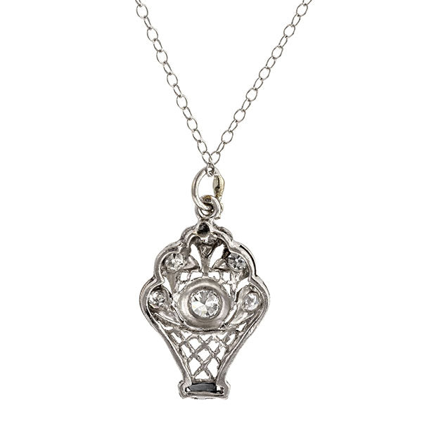 Art Deco necklace: a Platinum Latticework Basket With Round Brilliant Cut Diamond Flowers Pendant sold by Doyle & Doyle vintage and antique jewelry boutique.