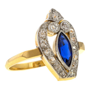 Art Deco ring: a Platinum Topped Yellow Gold Sapphire And Diamond Ring sold by Doyle & Doyle vintage and antique jewelry boutique.