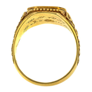 Vintage ring: a Yellow Gold Crest Ring sold by Doyle & Doyle vintage and antique jewelry boutique.
